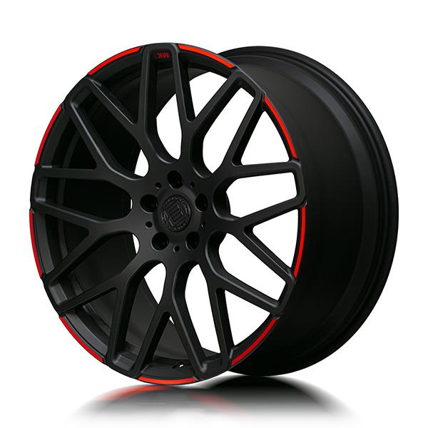 Кованые диски Beneventi R9 в отделке Black Matte Red Edge