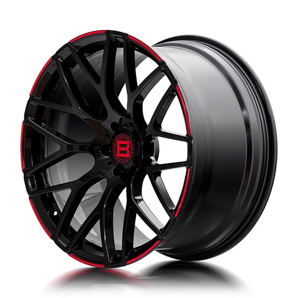 Кованые диски Beneventi R9 в отделке Black Red Enge